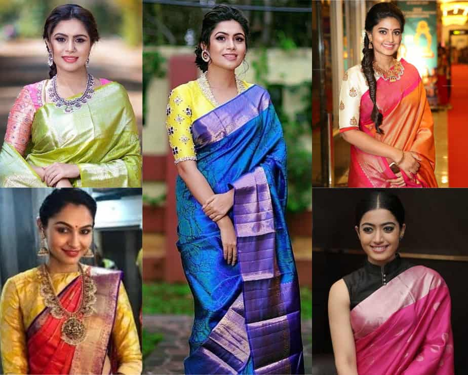 contrast blouse for saree