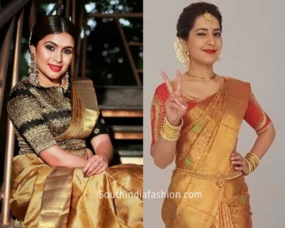 golden saree with contrast blouses