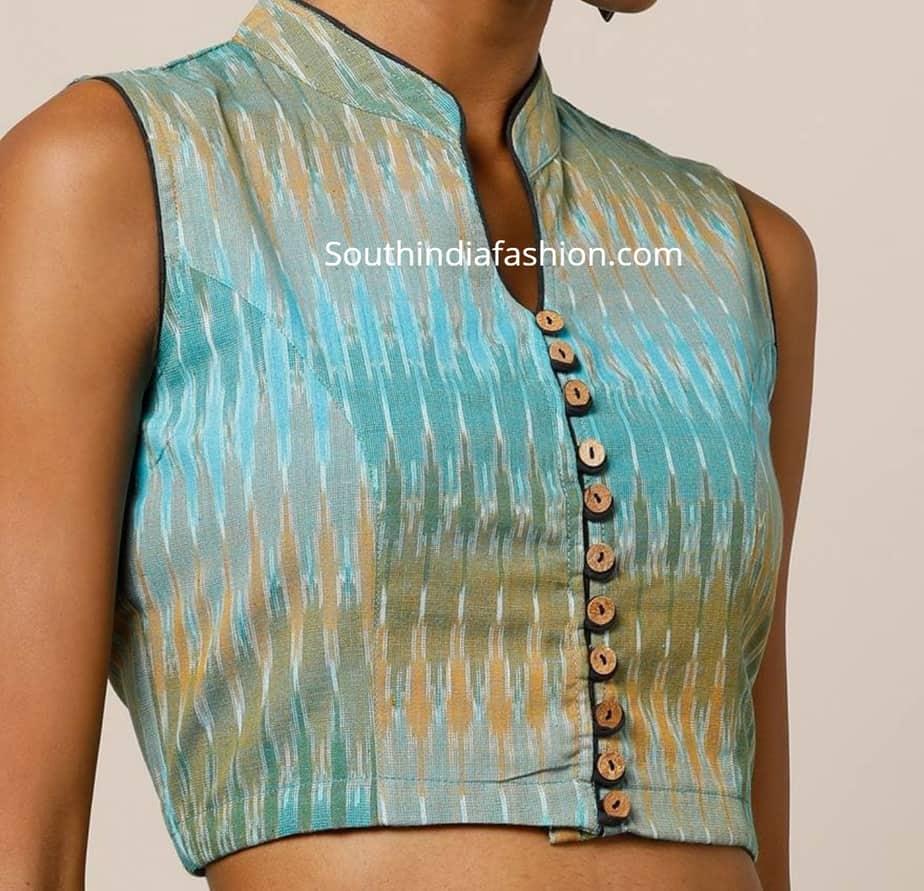 ikat collar blouse