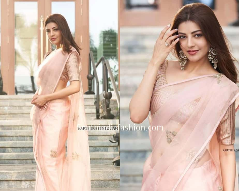 kajal agarwal in a pale pink tissue saree