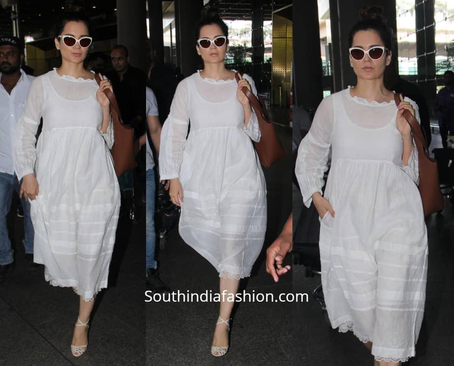 kangana airport white dress