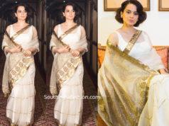 kangana ranaut white saree at narendra modi oath ceremony