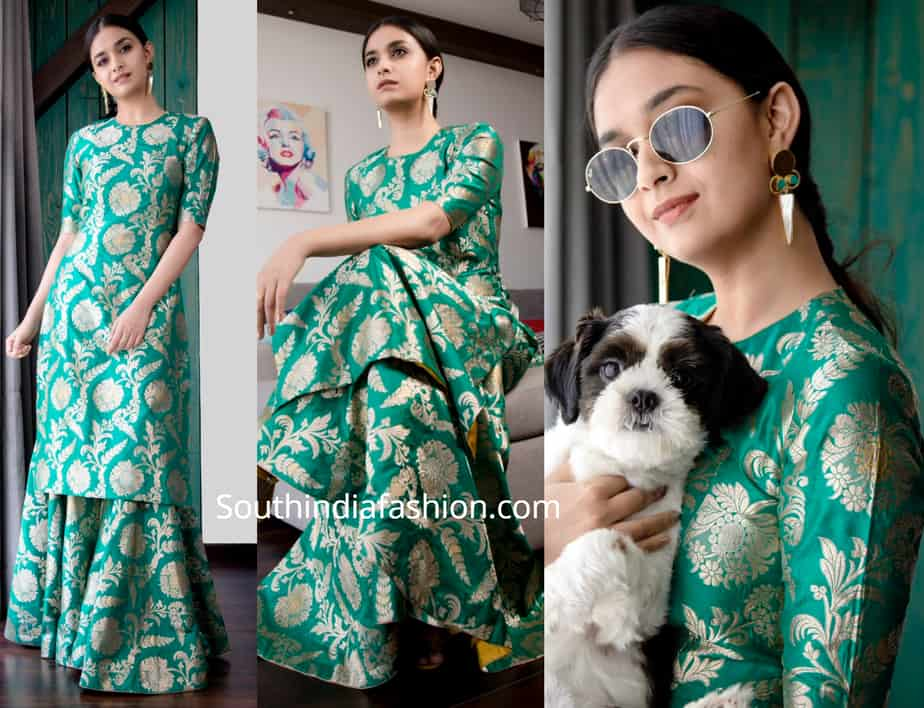 keerthy suresh green brocade sharara raw mango