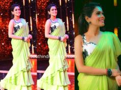 kiki vijay green ruffle saree