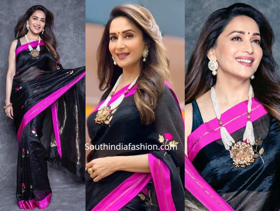 madhuri dixit black raw mango saree dance deewane