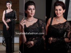 nikki galrani black net saree