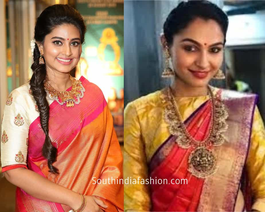 orange saree with contrast blouse