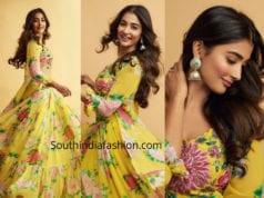 pooja hegde yellow lehenga maharshi promotions