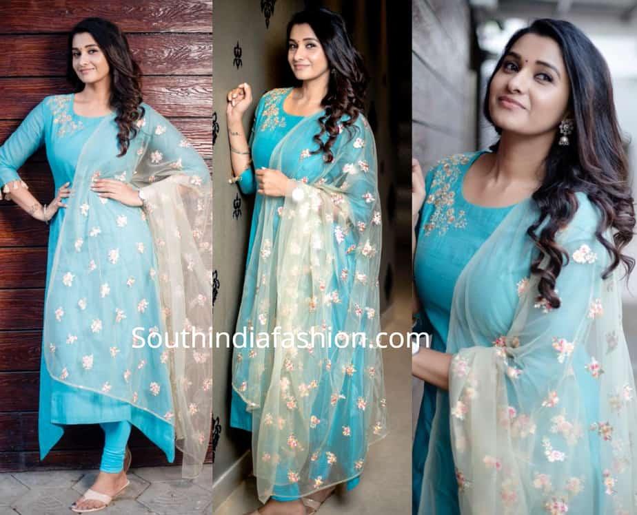 priya bhavani shankar blue salwar kameez