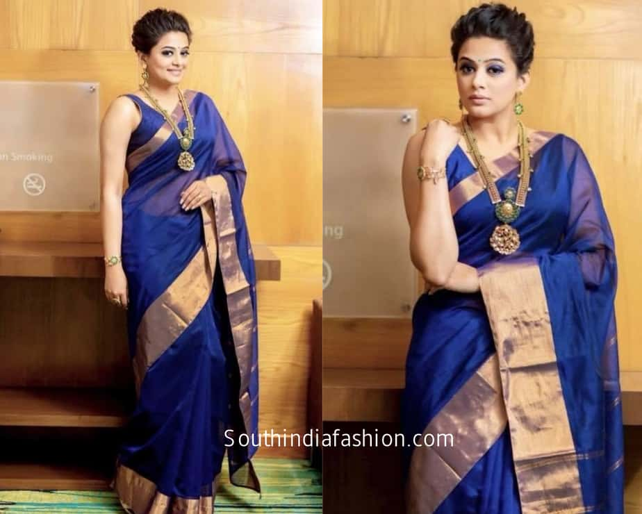 priyamani in simple blue cotton saree