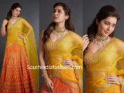 raashi khanna yellow red half saree