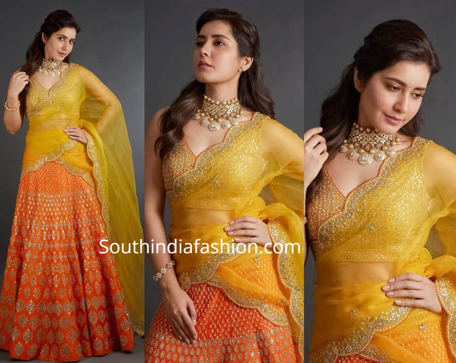 raashi khanna yellow red half saree