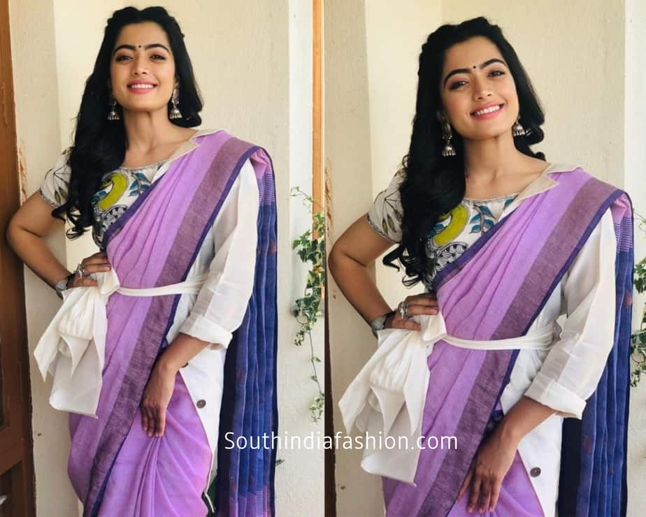 rashmika mandanna in a simple purple cotton saree