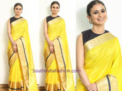 rasika dugal yellow raw mango saree