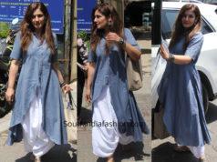 raveena tandon blue kurta white dhoti pants