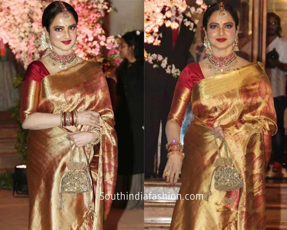 rekha in silk kanchi saree