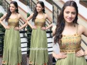 rukshar dhillon in label anushree green maxi dress