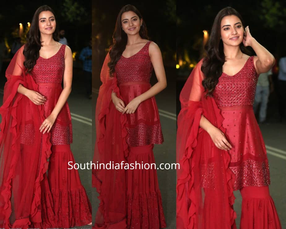 rukshar dhillon in red sharara at abcd pre release event
