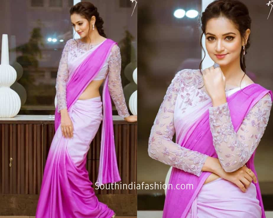 shanvi srivatsa in a dual color saree