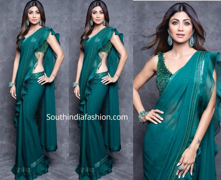 shilpa shetty green ruffle saree