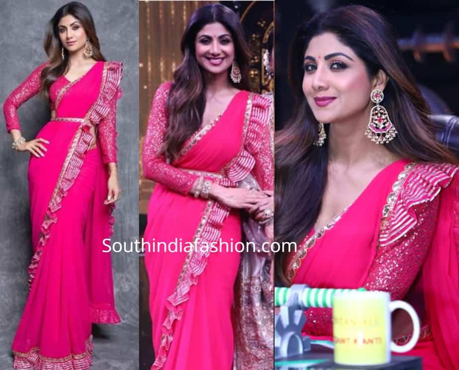 shilpa shetty pink saree super dancer 3