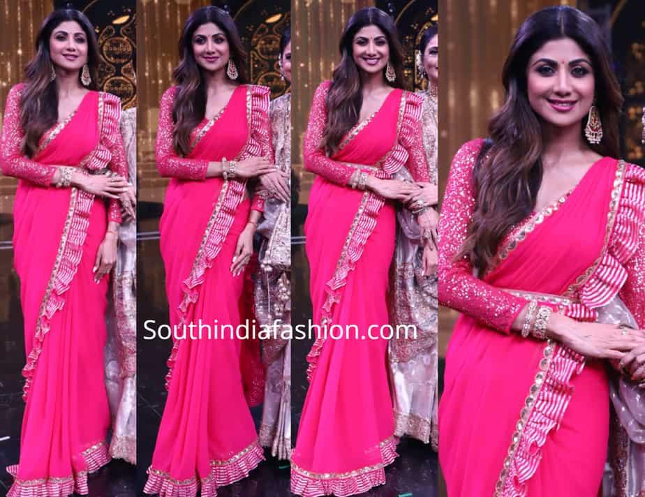 shilpa shetty pink saree with ruffle borders super dancer