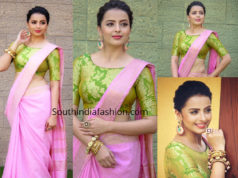 shrenu parikh in pink linen saree