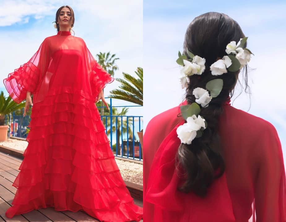 sonam kapoor hairstyle with flowers cannes 2019
