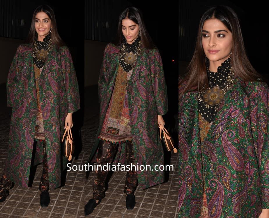 sonam kapoor in sabyasachi dress at india's most wanted screening