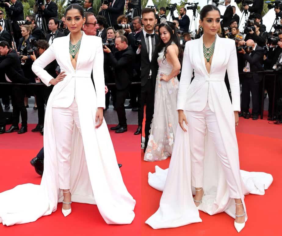 sonam kapoor white pant suit 2019 cannes