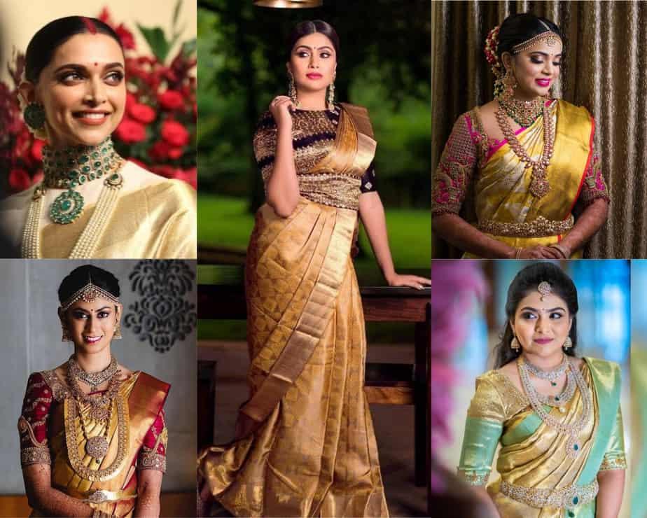 the gold saree looks