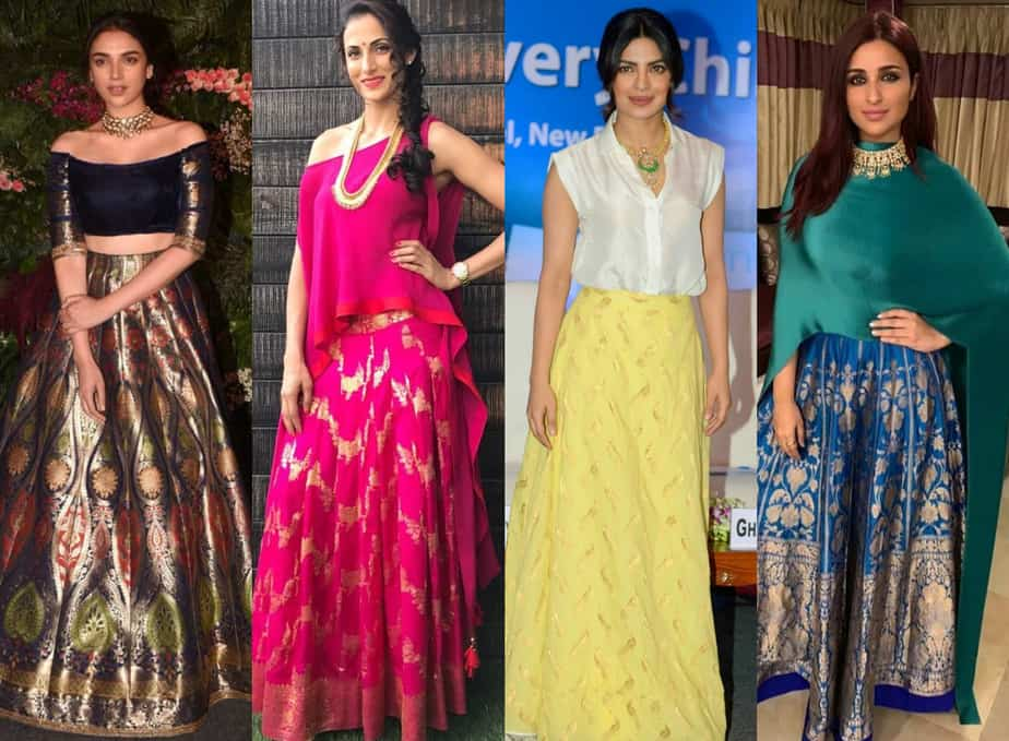 tops with traditional indian skirts