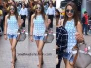 trisha krishnan in denim shorts