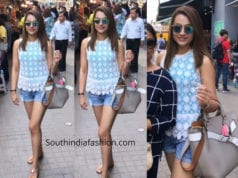 trisha krishnan in denim shorts