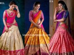 pattu half sarees by mugdha's , mugdha art studio