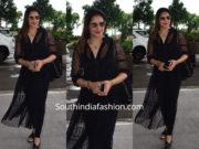 Bipasha Basu in a black sheer dress at the airport