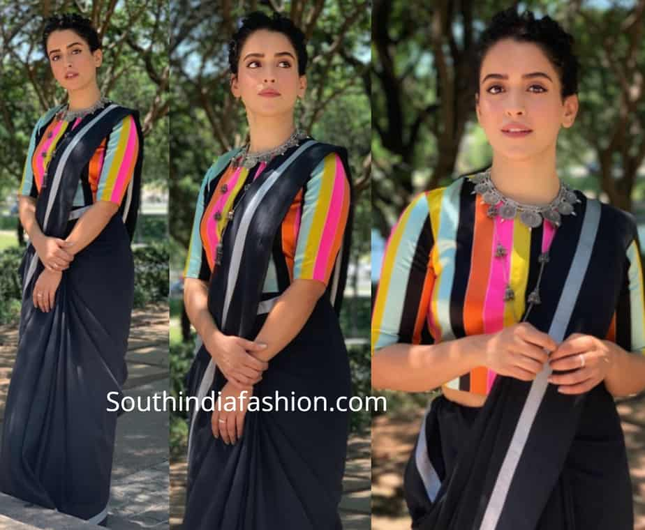 sanya malhotra black saree