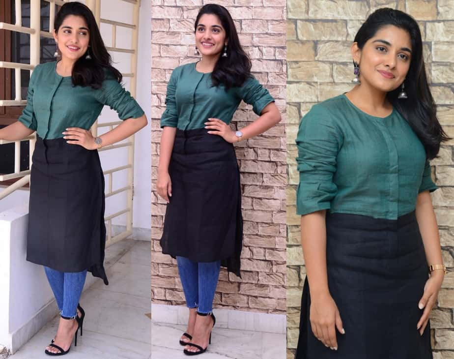 nivetha thomas green black kurta