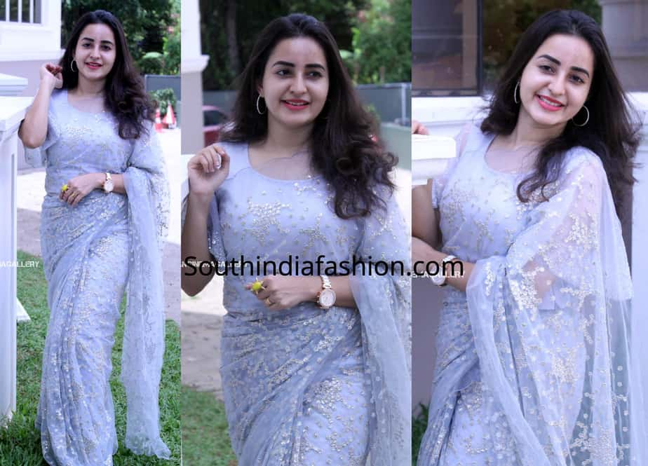 bhama in organza saree at vishnupriya marriage