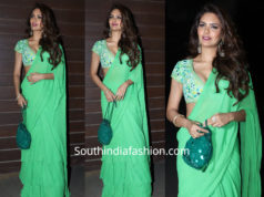 esha gupta in green ruffle saree