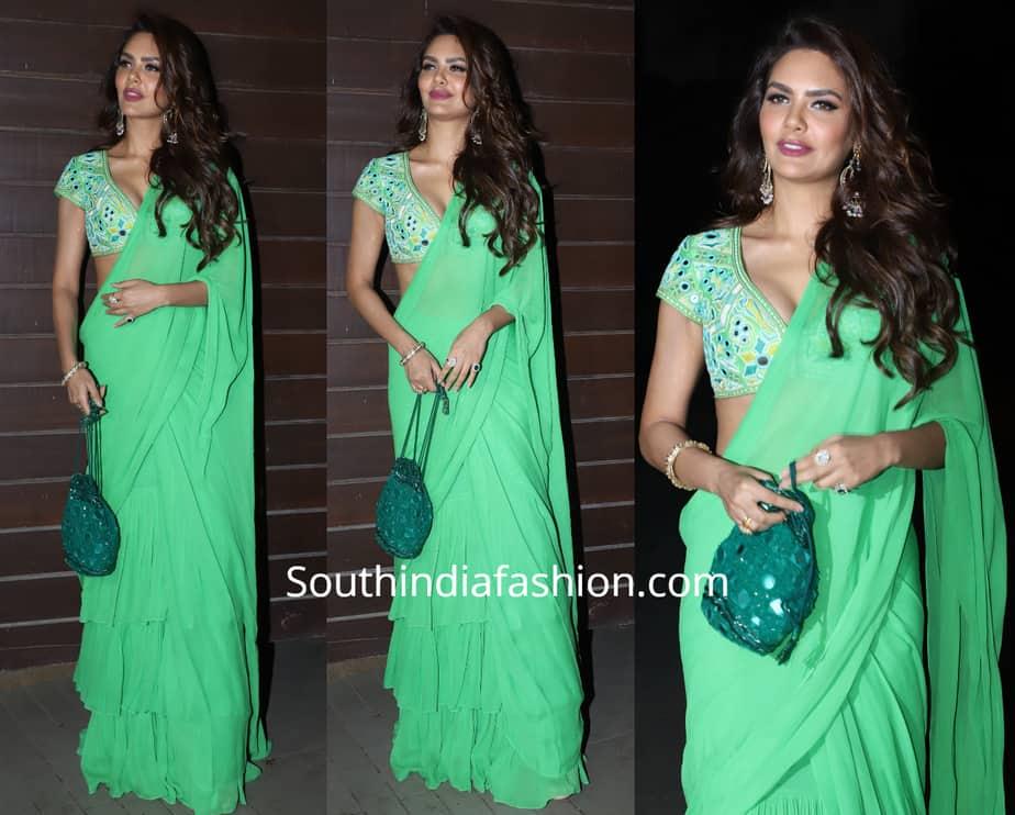 esha gupta in green ruffle saree