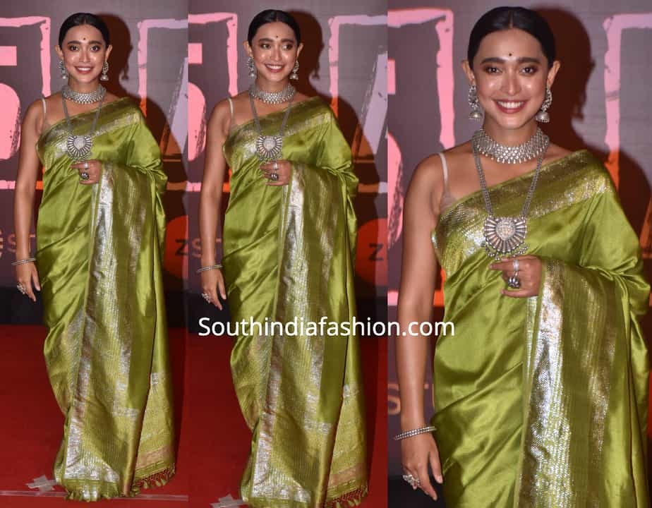 sayani gupta green saree