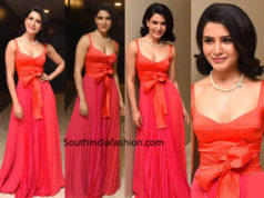 samantha akkineni red dress at oh baby pre release event
