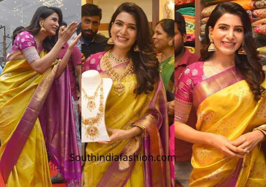 samantha akkineni pattu saree chennai shopping mall launch