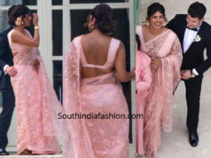priyanka chopra pink saree at joe jonas wedding
