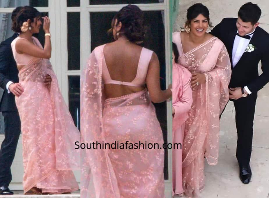 priyanka chopra pink saree at joe jonas wedding