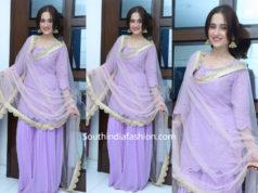 sanjeeda shaikh purple sharara suit