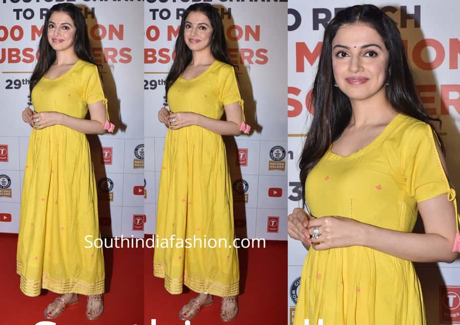divya khosla kumar yellow maxi dress