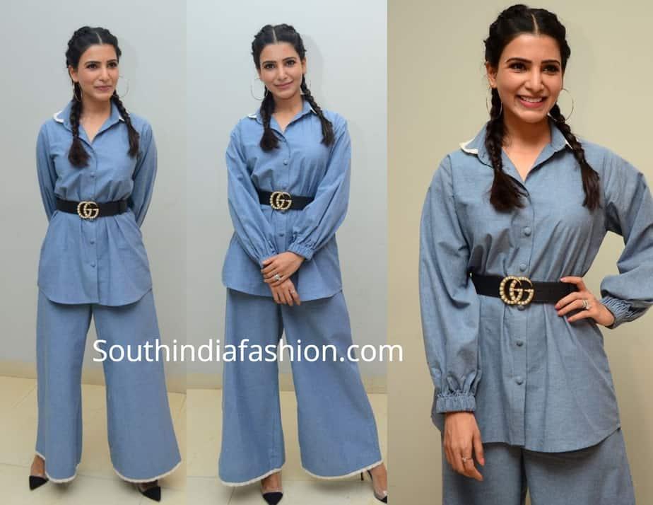 samantha akkineni blue dress at o baby press meet