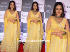 nidhii agerwal yellow lhenga at baba siddique iftar party